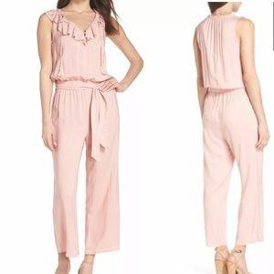 PAIGE Jumpsuit Pink Ruffle Stretch Pant Playsuit